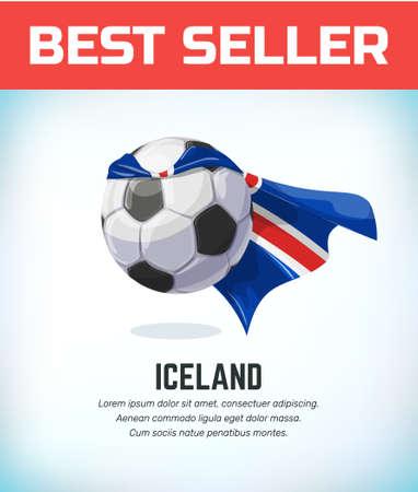 Iceland football or soccer ball. Football national team. Vector illustration. Çizim