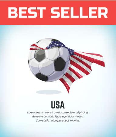 American football or soccer ball. Football national team. Vector illustration.