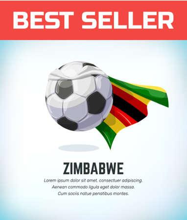 Zimbabwe football or soccer ball. Football national team. Vector illustration.
