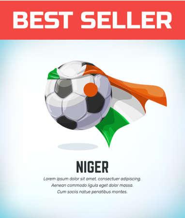 Niger , Nigerian football or soccer ball. Football national team. Vector illustration. Çizim