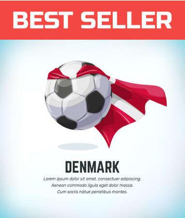 Denmark football or soccer ball. Football national team. Vector illustration. Çizim