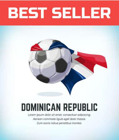 Dominan Republic football or soccer ball. Football national team. Vector illustration. Çizim