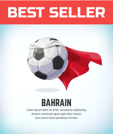 Bahrain football or soccer ball. Football national team. Vector illustration.