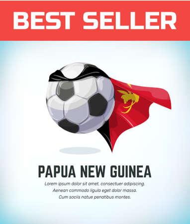 Papua New Guinea football or soccer ball. Football national team. Vector illustration.