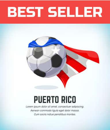 Puerto Rico football or soccer ball. Football national team. Vector illustration.