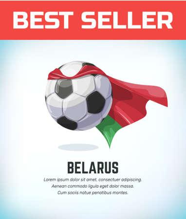 Belarus football or soccer ball. Football national team. Vector illustration.