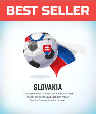 Slovakia football or soccer ball. Football national team. Vector illustration.