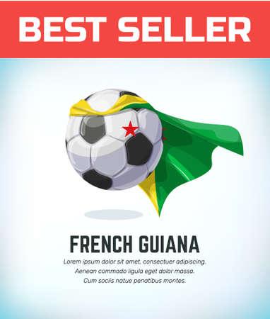 French Guiana football or soccer ball. Football national team. Vector illustration.