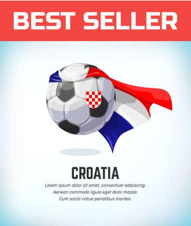 Croatia football or soccer ball. Football national team. Vector illustration.