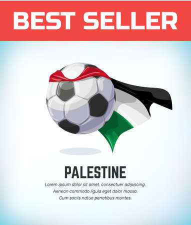 Palestine football or soccer ball. Football national team. Vector illustration. Çizim