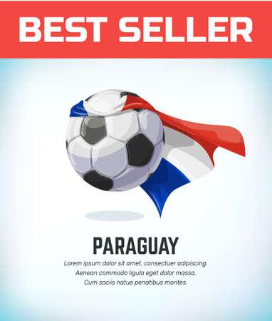 Paraguay football or soccer ball. Football national team. Vector illustration.