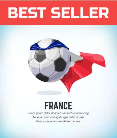 France football or soccer ball. Football national team. Vector illustration.