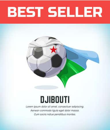 Djibouti football or soccer ball. Football national team. Vector illustration.