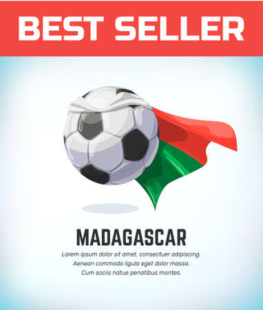 Madagascar football or soccer ball. Football national team. Vector illustration.