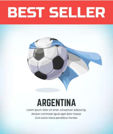 Argentina football or soccer ball. Football national team. Vector illustration. Çizim