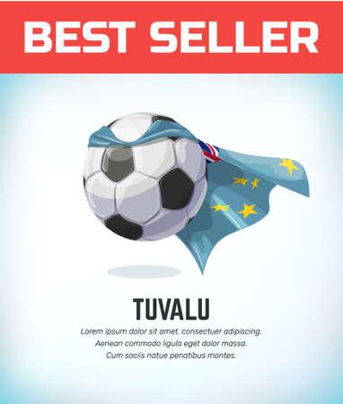 Tuvalu football or soccer ball. Football national team. Vector illustration. Çizim