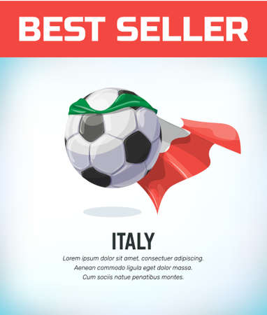 Italy football or soccer ball. Football national team. Vector illustration. Çizim