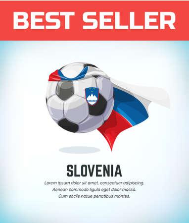 Slovenia football or soccer ball. Football national team. Vector illustration.
