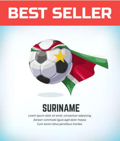Suriname football or soccer ball. Football national team. Vector illustration. Çizim