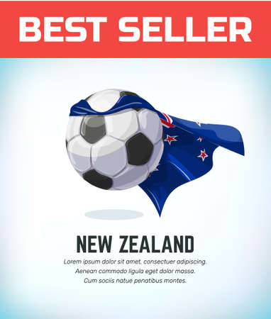 New Zealand football or soccer ball. Football national team. Vector illustration. Çizim