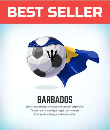 Barbados football or soccer ball. Football national team. Vector illustration.