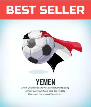 Yemen football or soccer ball. Football national team. Vector illustration.