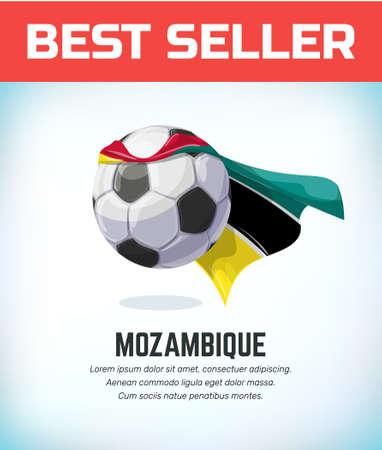 Mozambique football or soccer ball. Football national team. Vector illustration. Çizim