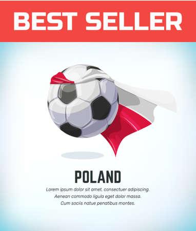 Poland football or soccer ball. Football national team. Vector illustration.