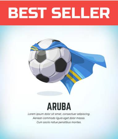 Aruba football or soccer ball. Football national team. Vector illustration.
