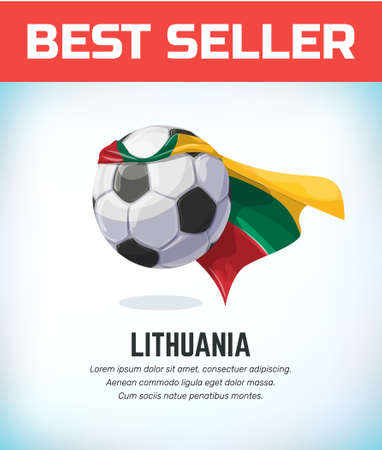 Lithuania football or soccer ball. Football national team. Vector illustration.