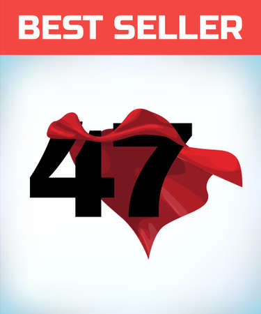 Arabic number fourty seven in the red cloak of the winner of the super hero. - Vector.