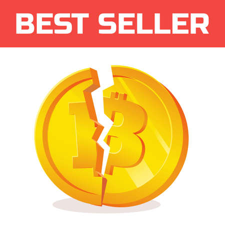 Block chain currency crisis. currency devaluation. Bitcoin fallen. Illustration