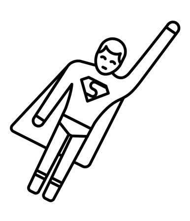 Line icon of stick man superhero. Design of super hero icon.