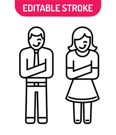 Line icons set of stick man and woman. Line art of stick girl and boy. Can use for apps and websites. Illustration