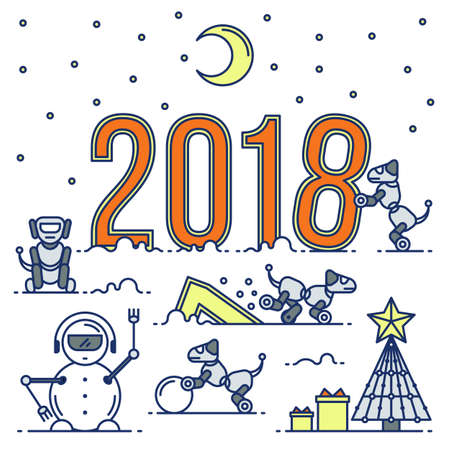 Future Technology New year card. Illustration