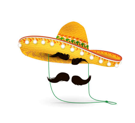 Sombrero Hat illustration. Mexican hat on white background. Masquerade or carnival costume headdress Illustration