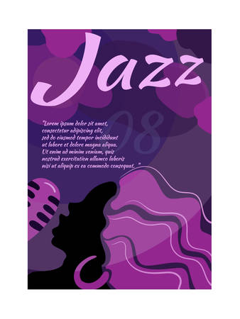 Jazz poster template. Jazz poster with singing girl and microphone.