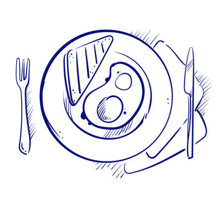 Hand drew a sketch of fried eggs with toast on a plate. Illustration