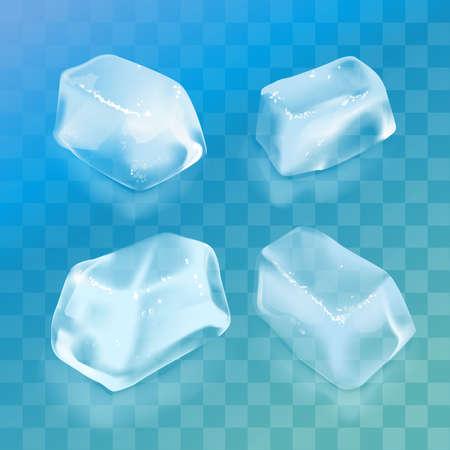 Realistic ice cube set.