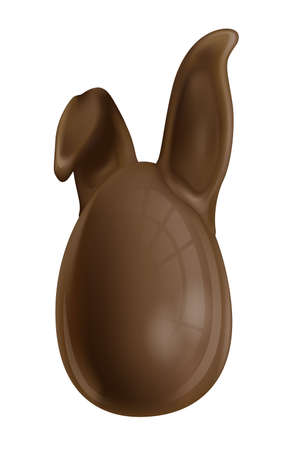 Easter Bunny chocolate egg with ears. Illustration