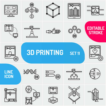 3D printing Icon set. Can use for web and apps. Modern line icons 3D printing.