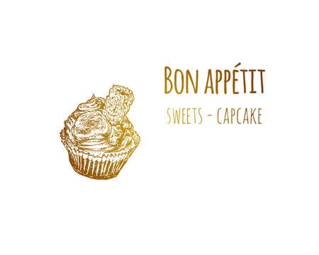 Hand drawn sketch vintage capcake. Food sketch and kitchen doodle. Can use for cafe and restaurant menu design. Illustration