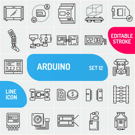 Arduino line icons. Electronics components icon set. Various chip symbols collection.