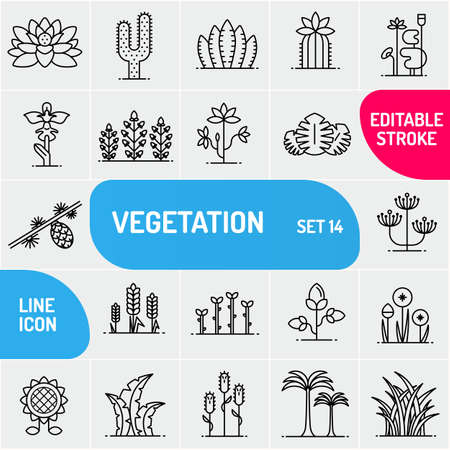 Vegetation line icons. Large icons set of flowers and plants. Can use for biology templates.