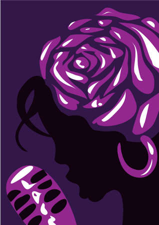 Jazz poster template. Jazz poster with a girl singing into a microphone and a flower on her head.