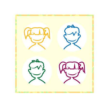 Funny, cartoon styled avatars children for registration the number of participants in the game illustration. Illustration