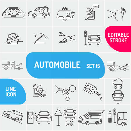 Automobile line icons. Universal set of auto icons. Ilustracja