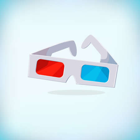 Paper 3d Glasses Cinema vector illustration.