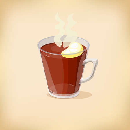 Cartoon Cup of tea. Isolated vector illustration. Can be use for menus, designs, fabrics, posters