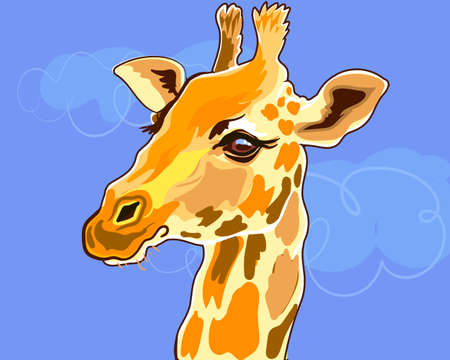 Cute giraffe head close-up. Beautiful animal in Africa. Illustration